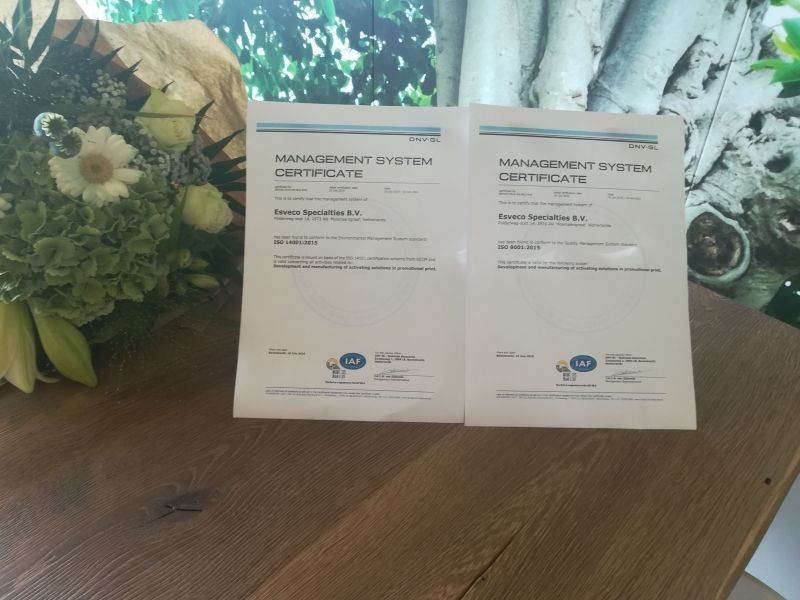 Esveco Specialties achieves both ISO 9001 and ISO 14001!